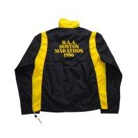 """80's VINTAGE NIKE NAVY TAG """"B.A.A. BOSTON MARATHON 1986"""" NYLON JACKET MADE IN USA [BLACK×YELLOW]"""
