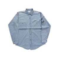 40's〜 VINTAGE RIVERSIDE U.S.NAVY L/S BLUE CHAMBRAY SHIRT[WESTERN COSTUME]